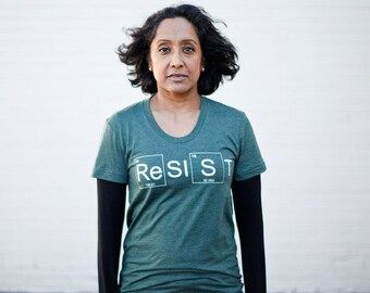 RESIST graphic tee - Womens Climate Change Awareness T-Shirt in Green - environmentalist protest shirt, periodic table, message tee for her