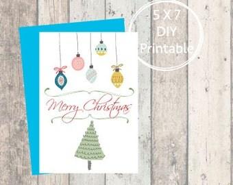 Printable Christmas Card Bulbs, Merry Christmas, Printable Christmas Card, Christmas Card, Printable, Holiday Card, Bulbs, Mid-Century