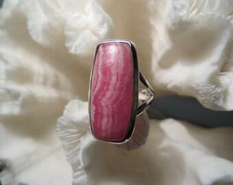 Beautiful Pink Rhodochrosite Ring Size 6.5