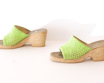 size 8 SPRING green 70s 80s PLATFORM chunky wedge CORK heel sandals