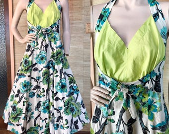 1950s floral cotton halter dress (L/XL)