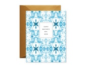HAPPY MOTHER'S DAY  Blue + White Tiled Marble Greeting Card / Mom