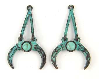 Turquoise Antique Copper Double Horn Earring Findings or Pendant Verdigris Crescent Moon Hammered Texture Jewelry Component |GR1-13|2