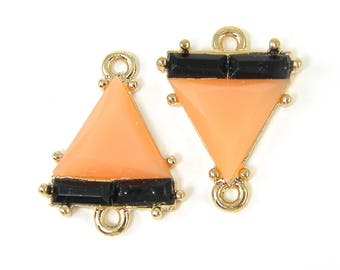 Peach Earring Connector Peach Gold Triangle Jewelry Link Coral Black Earring Finding Geometric Jewelry Component |O2-11|2