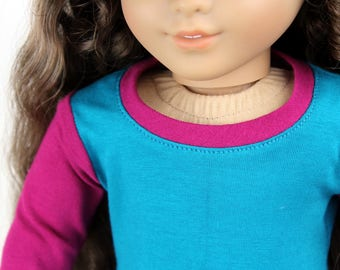 SAMPLE SALE - Fits like American Girl Doll Clothes - Colorblock Long Sleeve Tee in Magenta and Jade