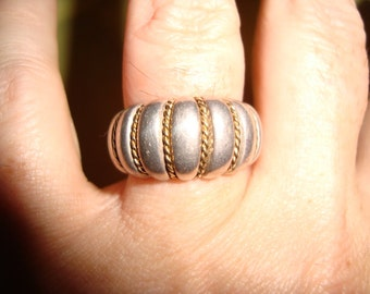 Fabulous Sterling & Twisted 18K Gold Rope Ring 5.5