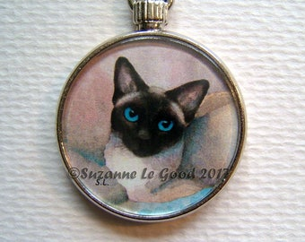 APPLEHEAD SIAMESE CAT Keyring/handbag charm with print from original painting by Suzanne Le Good