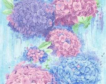 "Harmony Hydrangea - Panel -  Chong-a Hwang  -Timeless Treasures- Blue and Lavender- 100% Cotton Fabric-By the Panel- Panel 24' x 44""."