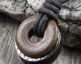 Mens Leather Necklace, Leather Cord Ring Necklace, Surfer Necklace, Wood, Horn, Pewter Rings, Brown Leather, Surf, Natural, Masculine