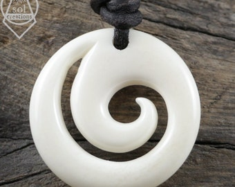 Maori Koru Pendant Necklace, Bone Koru, Spiral Pendant, Mens Leather Necklace, Surfer Necklace, New Beginnings, Peace, Tranquility