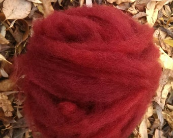 1 oz Hand-dyed Burgundy Wool Roving