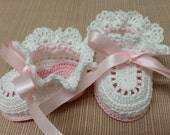 Baby Girl Booties. Pink & White. Crochet Booties. Christening. Baby Shoes. Newborn Girl. Reborn Doll. Baptism. Baby Shower Gift