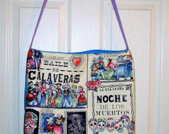 """Day of the Dead Tote Bag Noche DE Los Muertos 16 X 17 X 3 Purple Strap 20"""" Go to the Beach, Mall, Flea Market, Spa! Made in the USA"""