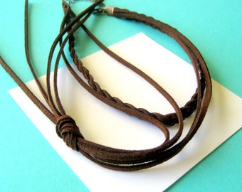 Braided Leather Choker and Lariat Style Necklace