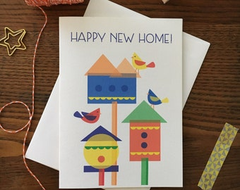 New Home Card New Home Bird House Card Happy New Home Welcome Home Cute Bird Card Congratulations New Home Adorable New Home Card