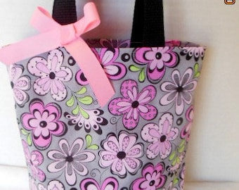 Pink and Gray Floral Tote/Gift Bag