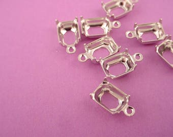 18 silver tone Octagon Prong Settings 8x6 1 Ring Open Back