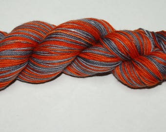 Orange and Grey Self Striping Hand Dyed Sock Yarn
