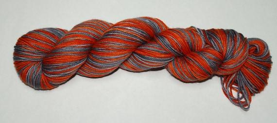 Orange and Grey Self Striping Hand Dyed Sock Yarn