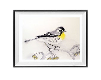Bird Art Watercolor Print Animal nature painting Woodland small bird Yellow Throat Warbler Wildlife artwork Grey painting Small song bird B
