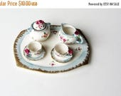 on sale miniature tea set, china tea set with roses, seven piece tea set, blue and pink teaset