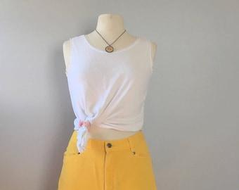 Vintage marigold ruffle shorts/ 1990s Yellow denim short/ high waist shorts / short shorts 30 waist