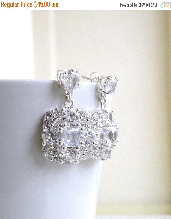 Love You Sale Ivanka Trump Cushion CZ Sterling Silver Stud Earrings IE2