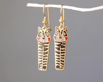 Vintage 1980s Laurel Burch Jungle Tiger Earrings Enamel Dangles Gold Tone