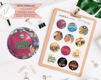 Classic Harry Potter Novels Bottle Cap Images, one inch circles, Printable bottlecap images, digital collage sheet, instant download