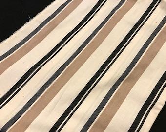 1 1/2 Yards of Vintage Black, Tan and Cream Stripe Linen Fabric
