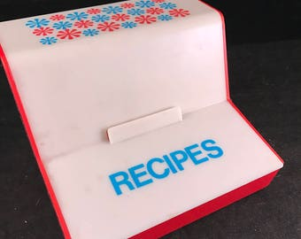 Vintage Red, White and Blue Plastic Flip Top Recipe Box