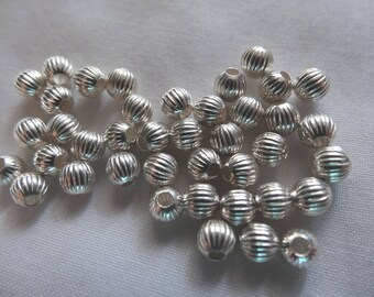 40 Beads Sterling Silver 4mm Round Corrugated A162