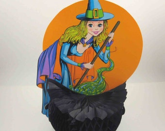 Vintage 1970s Pretty Sexy Witch Stirring Cauldron Die Cut Cardboard Halloween Decoration or Centerpiece with Honeycomb by Beistle