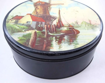 Vintage Dutch Holland Themed Round Metal Tin or Candy Container Windmill Pond Boat Cottage People