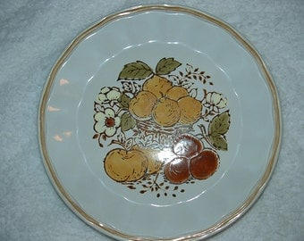 "Set of 4 HARVEST Stoneware Dinner Plates 10 5/8"" Gold Brown Fruits & Flowers"