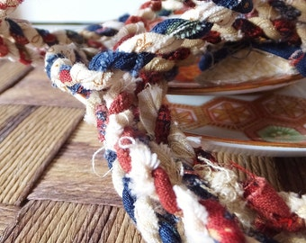 Red White & Blue Rope Garland Rustic Patriotic Fourth of July Decoration 6 ft Garland Mantel Decor Xmas Garland Primitive Americana Decor