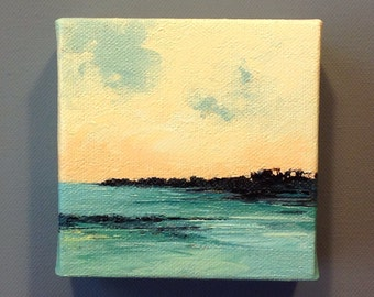 "OUTLET, landscape, oil painting, original painting, 100% charity donation, oil paint on 4""x4""x1.5"" stretched canvas"