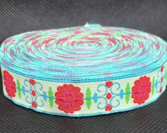 "5/8"" Woven Jacquard Ribbon with Vintage Flower - Per Yard"