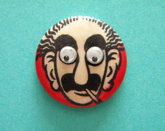 Vintage Groucho Marx Pinback Button with Googly Eyes Celluloid Pin Badge