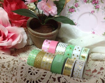 Washi ad Glitter Tape Set. Pink Washi, Glitter Washi, Washi Decorative Tape Set, Washi Tape Collection, Washi Tape Assortment, Tapes