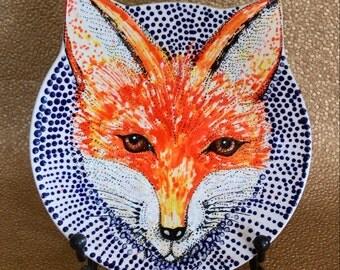 Red Fox Blue Dot Handpainted Ceramic Plate