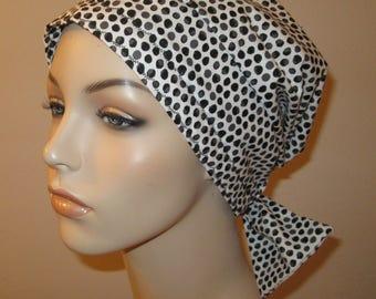 Black and White Polka Dot  Surgical Scrub Hat,Short Ties,  Cancer, Chemo Hat, Turban, Hair Loss