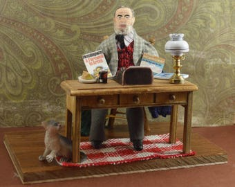 Ernest Hemingway- Diorama Miniature Scene-  Classic Literature- American Writer-  Book Geek Gift