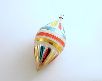 Vintage Christmas Ornament Glass Ornament Large Ornament Teardrop West Germany