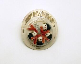 Vintage Christmas Decoration Spun Cotton Picks Package Tie Ons Snowman Ornaments
