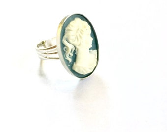 Cameo Ring, Blue and Silver Cameo Ring, Cameo Jewelry, Vintage Cameo Ring