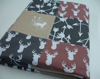 Deer Hunting Minky Blanket 38 x 50 READY TO SHIP On Sale