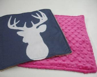 Navy Deer Head with Fuschia Pink and Tan Minky Baby Burp Cloth Set 10 x 11 READY TO SHIP On Sale