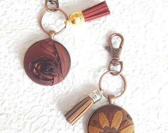 Embellished key ring, key fob, tassel ring, brown keyring, bridesmaid gift, handbag accessory