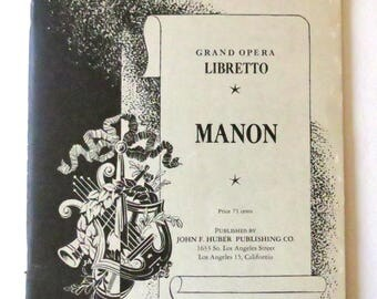 Vintage Opera Ephemera - Manon Grand Opera Libretto - Puccini - Opera in Five Acts - Text - Music